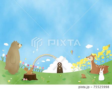 春 自然 動物 カード 風景 背景 水彩 イラスト素材 75525998