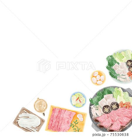 日本のすき焼き水彩風手書きイラスト 75530638