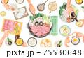 すき焼きパーティー食事風景水彩風イラスト 75530648