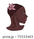 Portrait of beautiful african american girl. Young elegant black woman head profile with short hair, make up and pink lilly or magnolia flower, isolated on a white background. Beauty, fashion concept 75533463