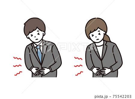 腹痛に悩むスーツ姿の若い男性と女性 75542203