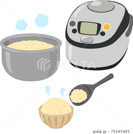 炊飯器と茶碗に盛った玄米ご飯 75545405