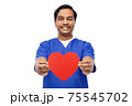 smiling male doctor with red heart on clipboard 75545702