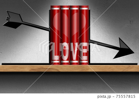Red Love Books on a Wooden Shelf with Heart and Arrow 75557815