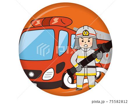 消防士とはしご消防車 75582812