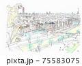 世界遺産の街並み・フランス・パリ・ノートルダム寺院の屋上からの俯瞰 75583075