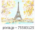 世界遺産の街並み・フランス・パリ・エッフェル塔 75583125