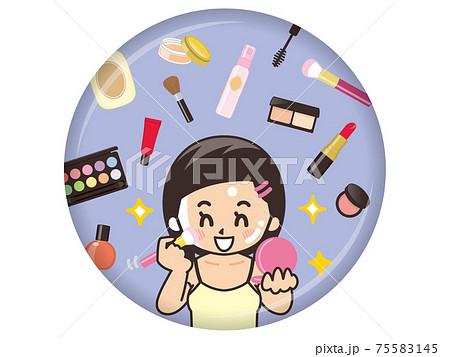 化粧をする女性とコスメグッズ 75583145
