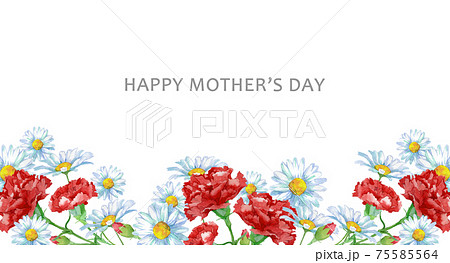 母の日カード 水彩のお花のフレーム 75585564