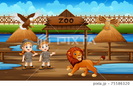 Cute the zookeeper kids with animals in the zoo park 75586320
