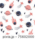 Seamless pattern with cosmic objects planets, stars, comets 75602000