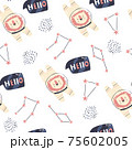Cosmic seamless pattern with cute lion astronauts 75602005
