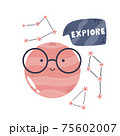Funny composition with planet in glasses, constellations and lettering text EXPLORE 75602007
