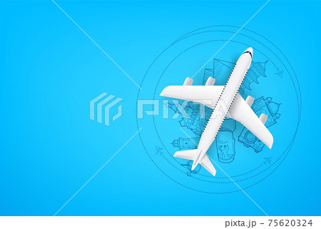 Adventure time concept with aircraft model with copy space 75620324