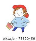 スモッグを着た保育園児 女の子 75620459