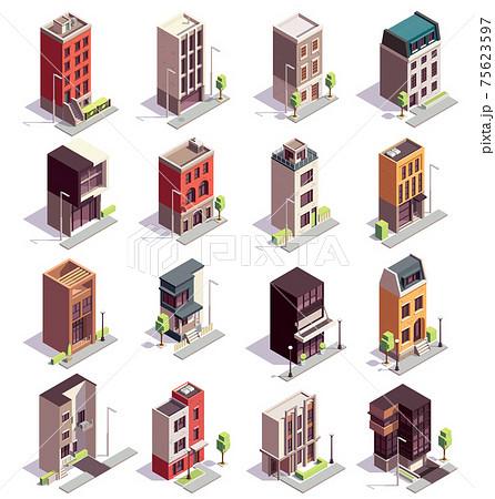 Isometric Town Houses Set 75623597