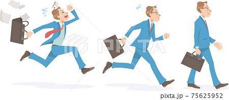 ビジネスマンが歩く、走る、書類を撒き散らして焦ってダッシュする。男性、横向き、全身。 75625952