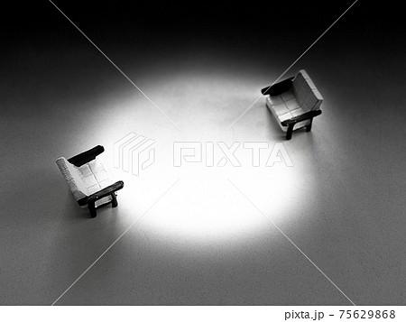 向かい合わせで離れた椅子小物2個_モノクロ 75629868