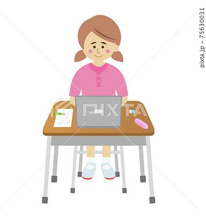 パソコンの勉強をする小学生のイラストイメージ 75630031