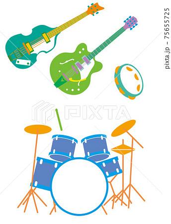ギター、ベースギター、タンバリン、ドラムスの楽器セット 75655725