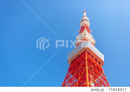 「東京都」快晴の青空と東京タワー 75658917