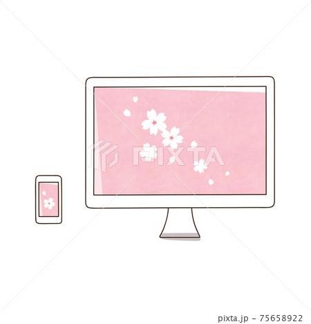 スマホとデスクトップパソコン 桜の花 75658922