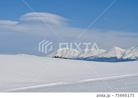 3月の美瑛町 残雪の丘と十勝岳連峰 75660175