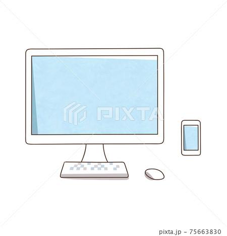 デスクトップパソコンとスマホ 75663830