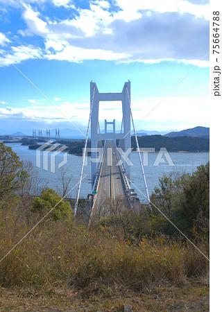 真上から見た下津井瀬戸大橋と向こうに続く瀬戸大橋 岡山県倉敷市 75664788