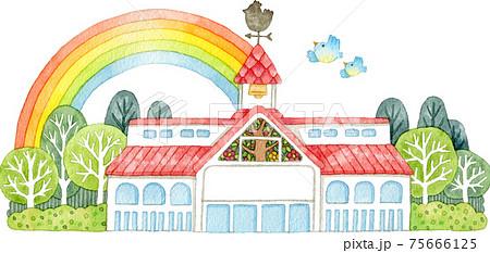 ステンドグラスと風見鶏がある建物に架かる虹 75666125