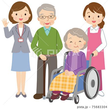 高齢者をサポートする人々 介護 福祉 75683304