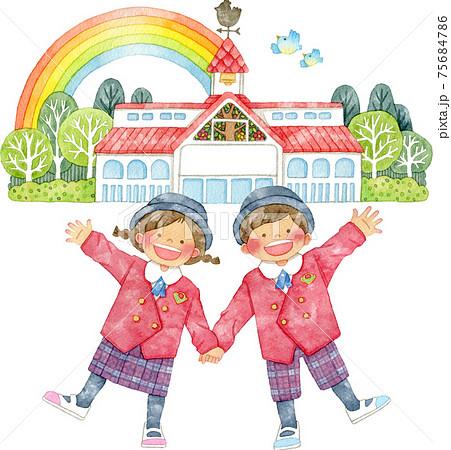 風見鶏のある建物と手をつなぐ制服姿の子供たち 75684786