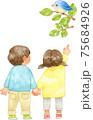 青い鳥を指さす子供たち 75684926