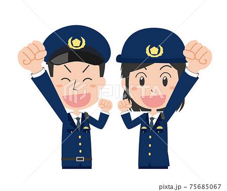 ガッツポーズをする男女警察官セット 75685067