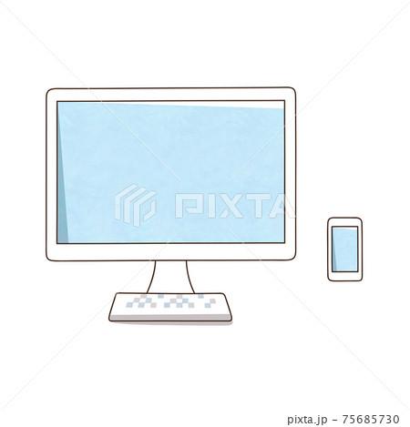 デスクトップパソコンとスマホ 75685730