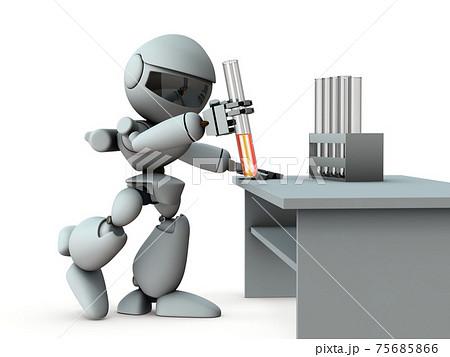 薬の開新発を目論む工知能のロボット。白バック。3Dレンダリング。 75685866