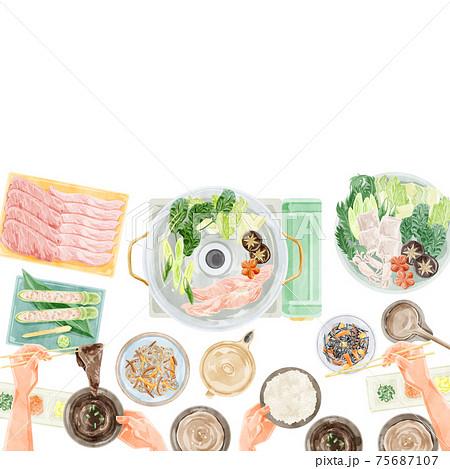 しゃぶしゃぶパーティー食事風景水彩手書きイラスト 75687107