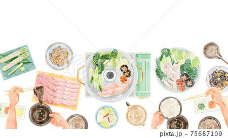 しゃぶしゃぶパーティー食事風景水彩手書きイラスト 75687109