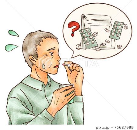 薬を飲み間違う男性の高齢者 75687999