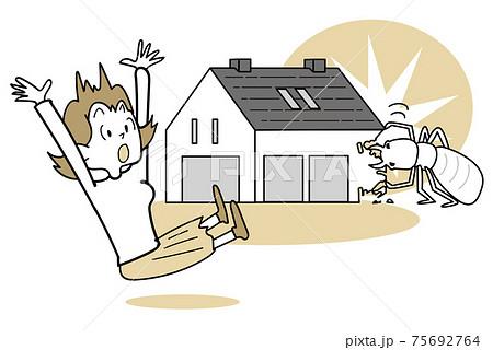 家のイラストシンプルライン-シロアリに家を食い荒らされる 75692764