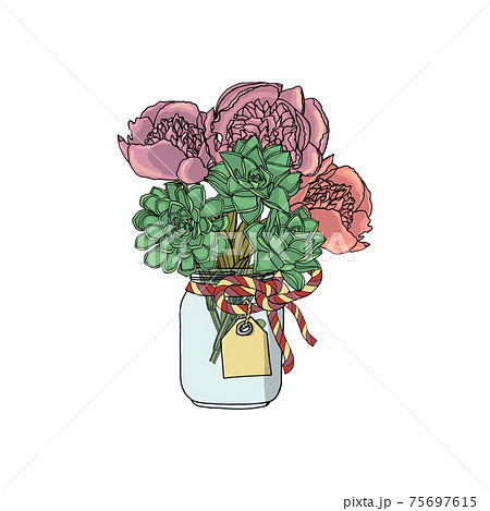 Hand drawn doodle style bouquets of different flowers, peony, succulents. 75697615