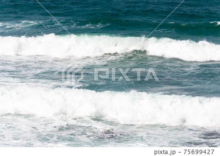 白い波が押し寄せる様子 緑の荒れた海 75699427
