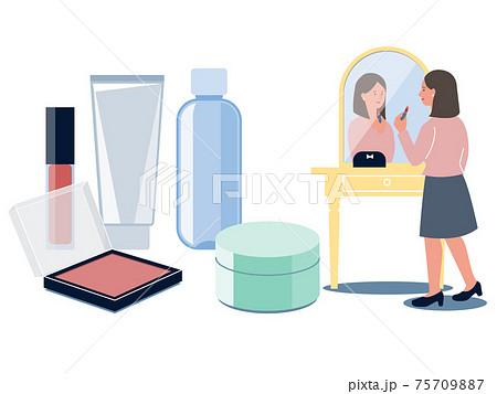 鏡に向かって化粧をする女性と基礎化粧品やメイク道具のベクターイラスト 75709887