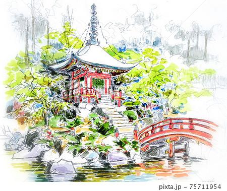 Kyoto Japan Temple Sketch  75711954