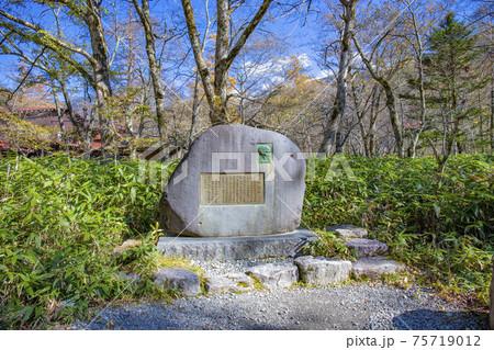 【長野県】秋の上高地 上條嘉門次と明神池の碑 75719012