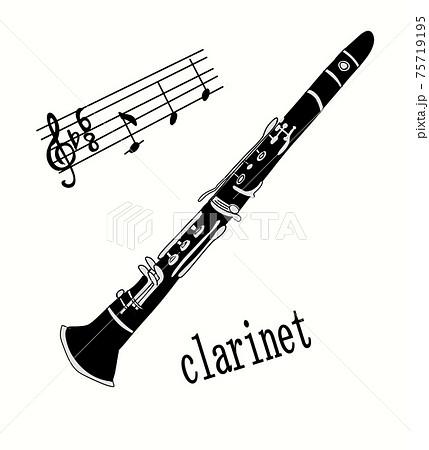 クラリネットと楽譜とト音記号 75719195