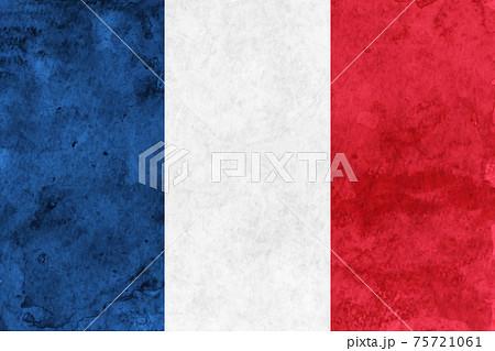 フランス  国旗 和紙 水彩 75721061