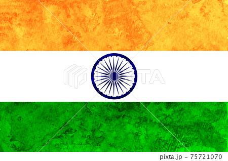 インド  国旗 和紙 水彩 75721070