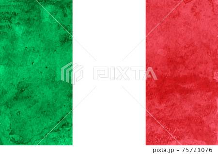 イタリア  国旗 和紙 水彩 75721076