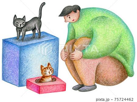 猫と遊ぶ男性 75724462